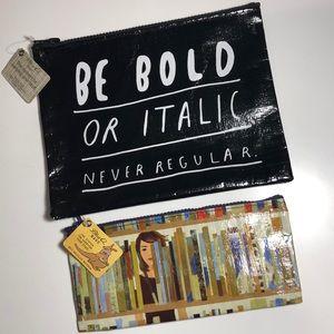NWT BlueQ Bold Italic & Book Bag Zipper Pouches
